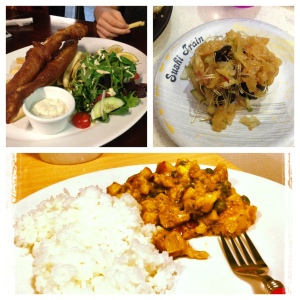Clockwise from left: Huge tray of fried flounder with tarter sauce, jelly fish, and homemade chicken curry and rice